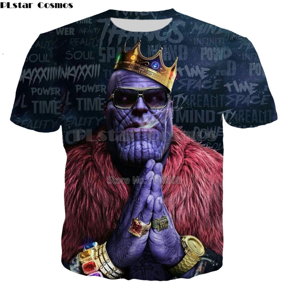 PLstar Cosmos New style Summer Fashion 3D Print Thanos   T     Shirt   Men /women Short Sleeve   T  -  shirts   Clothes O-neck Clothing Tops 5XL