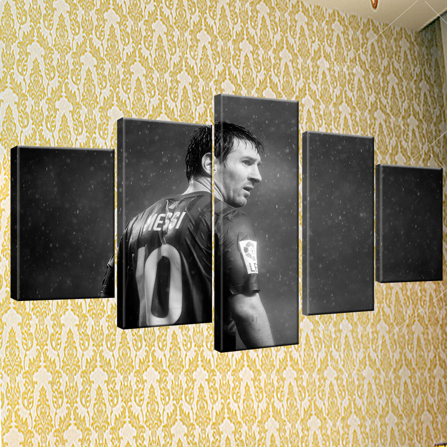 5 piece Barcelona Messi canvas printed painting for living picture ...