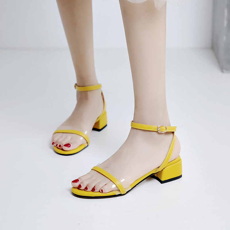 2019 summer yellow buckle ankle wrap cute sandals woman chunky square heels transparent toe strap large size casual shoes female in Middle Heels from Shoes