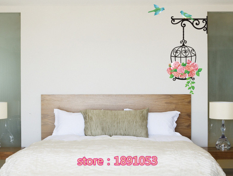 Pianta Camera Da Letto Matrimoniale : Piante disegni di fiori e uccelli adesivi murali ingresso soggiorno
