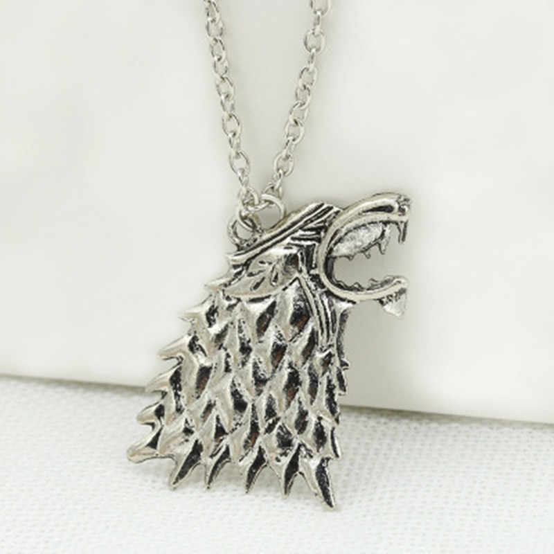 Stark black wolf throne new fashion wholesale pendant necklace / jewelry movie rights Stark wolf necklace unisex game