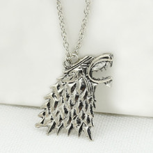 Stark black wolf pendant necklace