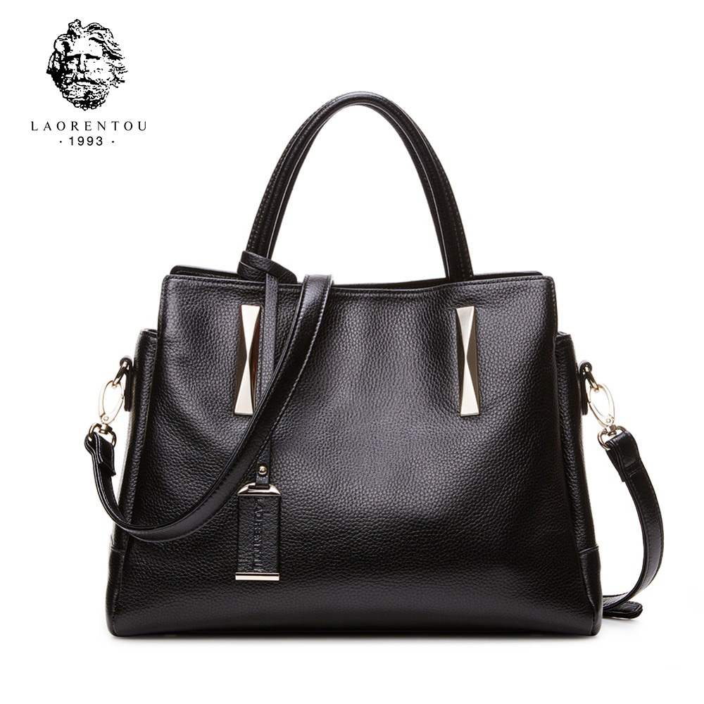 LAORENTOU Cow Leather Handbag For Women Luxury Fashion Shoulder bags Lady's Bag Made Of Genuine Leather Designer Brand Tote Bag patent leather handbag shoulder bag for women