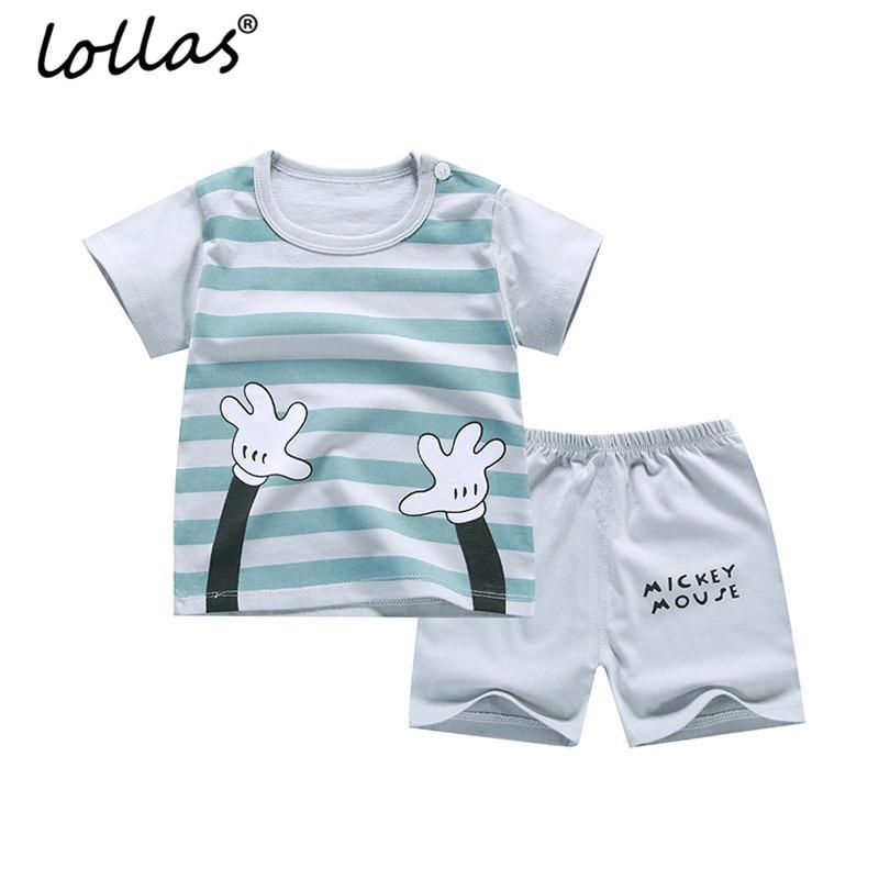 Lollas 2018 New Summer Children Set Cotton Baby Boys Girls Short Sleeve T-shirt Shorts Infant Set Kids Clothing Set