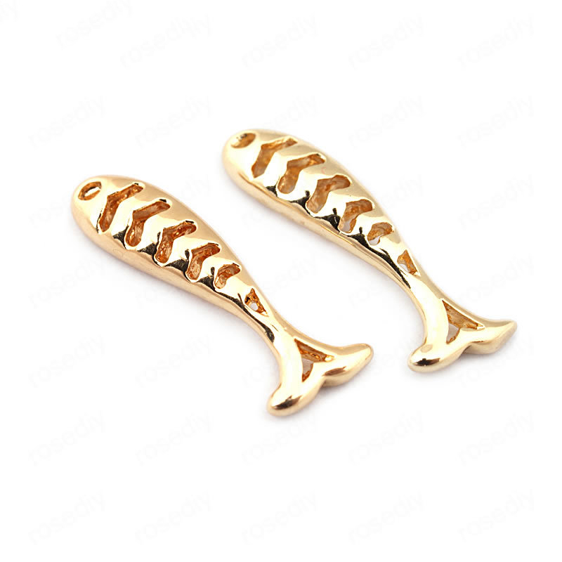 (33587)6PCS 21*5MM 24K Gold Color Brass Fish Charms Pendants High Quality Diy Jewelry Findings Accessories wholesale