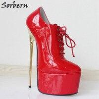 Sorbern красный Лакированная кожа туфли лодочки на шнуровке женская обувь 22 см высокий каблук острый носок толстый пикантная обувь на платформ