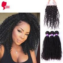 Grade 8A Brazilian Virgin Hair With Closure4PCS/Lot Kinky Curly Virgin Hair With Closure Sunny Queen Hair Bundles With Closure