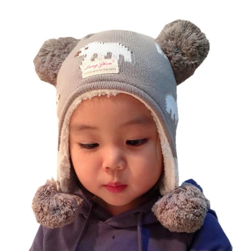 efc1330b7 Nueva Marca LANGZHEN niñas sombreros Oso de dibujos animados de niños bebé  invierno sombreros sombrero niño sombrero para niños bebé Muts KF283