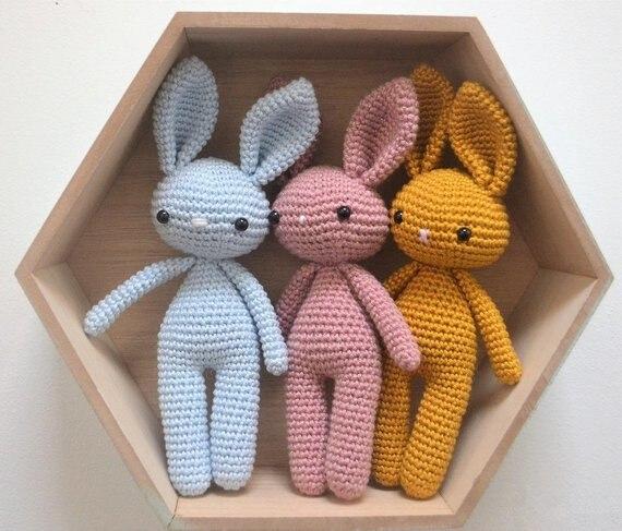 Crochet  Lovely Rabbit 3pieces/set Rattle