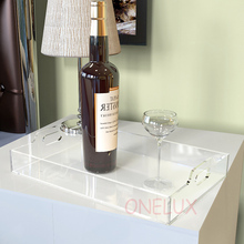 Free shipping Clear Acrylic Food & Drinks Serving Tray,Home use  All purpose used plexiglass lucite storage trays