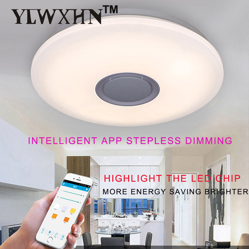 Lustres De Sala App Control Full Color Dimmable 36w Led Ceiling Light With Bluetooth Music 90