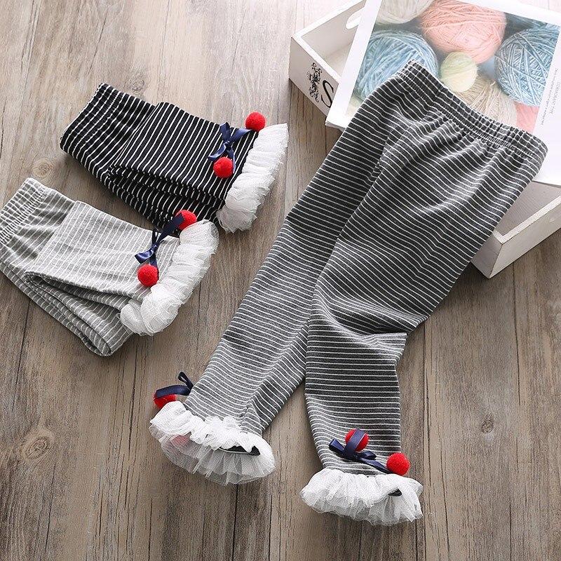 Детские леггинсы для девочек бант для новорожденного кружева детские милые эластичные теплые брюки принцессы