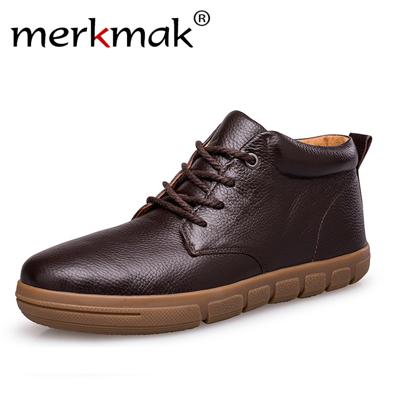 Merkmak Winter Men Boots With Fur 2018 Warm Snow Boots Men Winter Boots Business Casual Shoes Men Footwear Fashion Ankle Shoes xiaguocai new arrival real leather casual shoes men boots with fur warm men winter shoes fashion lace up flats ankle boots h599