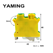 10pcs/lot UK series Yellow/Green Ground Terminal USLKG6 Dual Row Barrier  UK6NJD Guide Parts Pure Copper 6mm2 Square