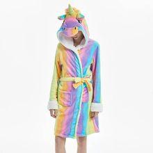 Winter Adults Animal Bathrobes Women Cartoon Cute Panda Unicorn Pajamas Flannel Bath Robe Dressing Gown Sleepwear Robes Female
