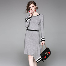 Suits Women Two Pieces Set Wool Blends Pannelled Knitted Dress Long Flare Sleeves Irregular Simple design New Elegant Style 2017