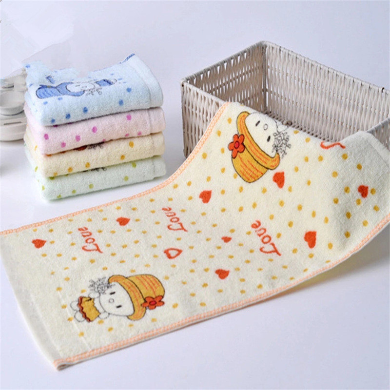 Cute 100% Cotton Children Towels Cartoon Pattern Pretty Little Girl Comfortable Baby Face Towels Wipe Wash Cloth Cotton 25*50cm