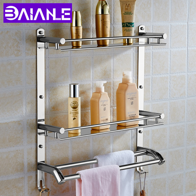 Wall Mount Roestvrij Staal 2 Lagen Opslag Mand Douche Badkamer ...