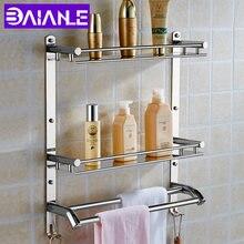 Montaje en pared de acero inoxidable 2 capas almacenamiento ducha baño  jabón champú estantes estante de e5782b074144