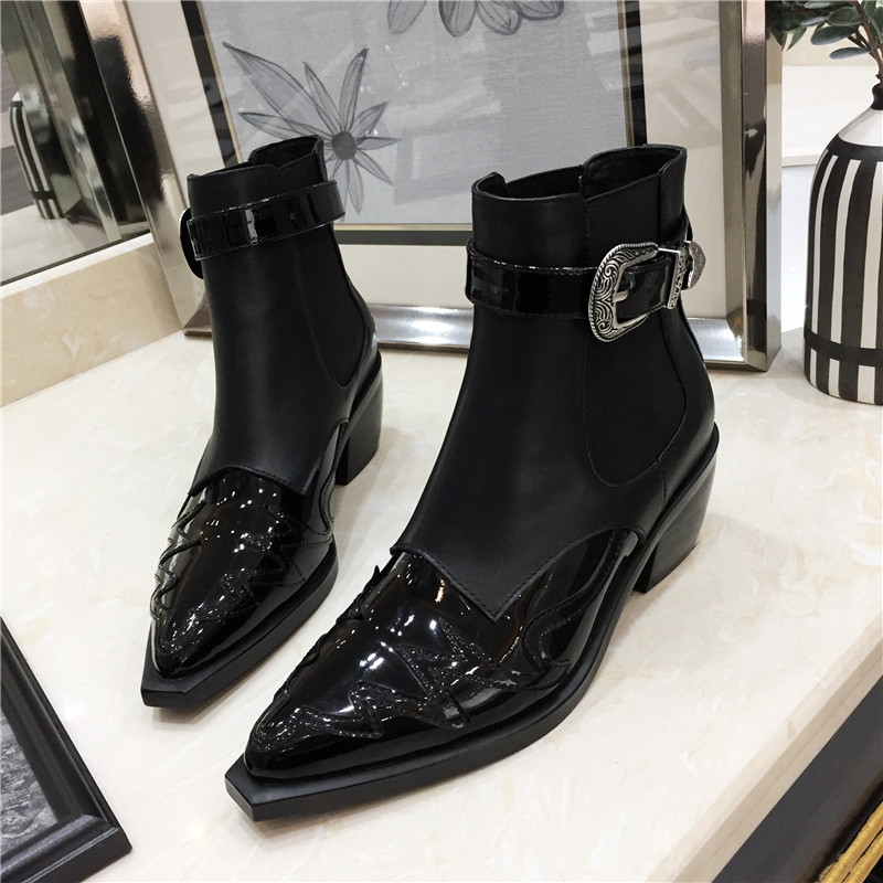 Feminino Rom Mujer Damen Ferse Pic Sapato as Frauen Pic Flut Schuhe As Metall Leaher Botas Spitz Chunky Neue Mode Stiefel Zcyd1qFRZ