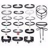 20 Pcs Chokers Set Vintage Black Lace Choker Necklace For Women Fashion Harajuku Ribbons Velvet Chocker