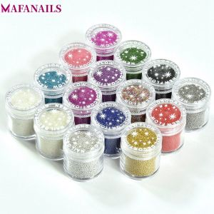 1 Box 10 Grams 0.6mm 0.8mm Glitter Beads 15 Colors Micro Caviar Beads Manicure 3D Tiny Beads Ball Nail Art Stickers PLA06 1-15