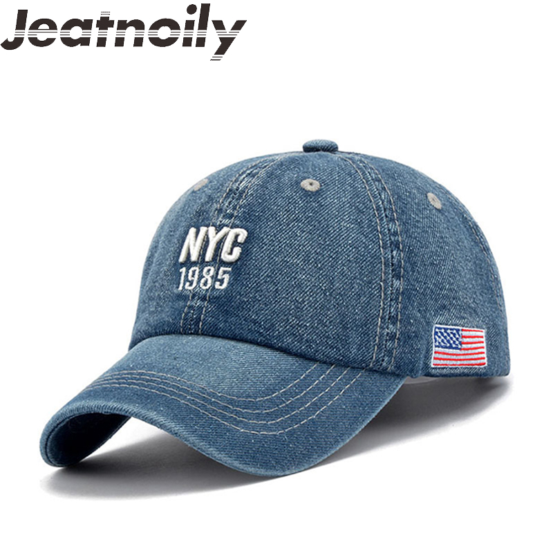 2018 New Trend Letter NYC Women Denim Baseball Cap Adjustable Cotton Cowboy Snapback Caps Hip Hop Hats Men Bone Autumn Jeans Hat new fashion floral adjustable women cowboy denim baseball cap jean summer hat female adult girls hip hop caps snapback bone hats