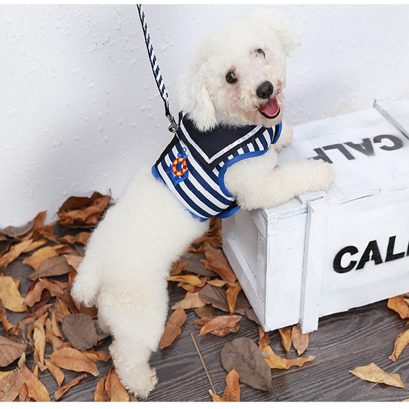 Newly Launched pet Dogs life vest Breast Straps Sling Little dog chain stripe clothes dog Traction Ropes Two in one Dog supplies