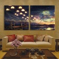 Free Shipping Stretched Canvas Prints Smoke LED Flashing Optical Fiber Print LED Wall Art LED Decorations