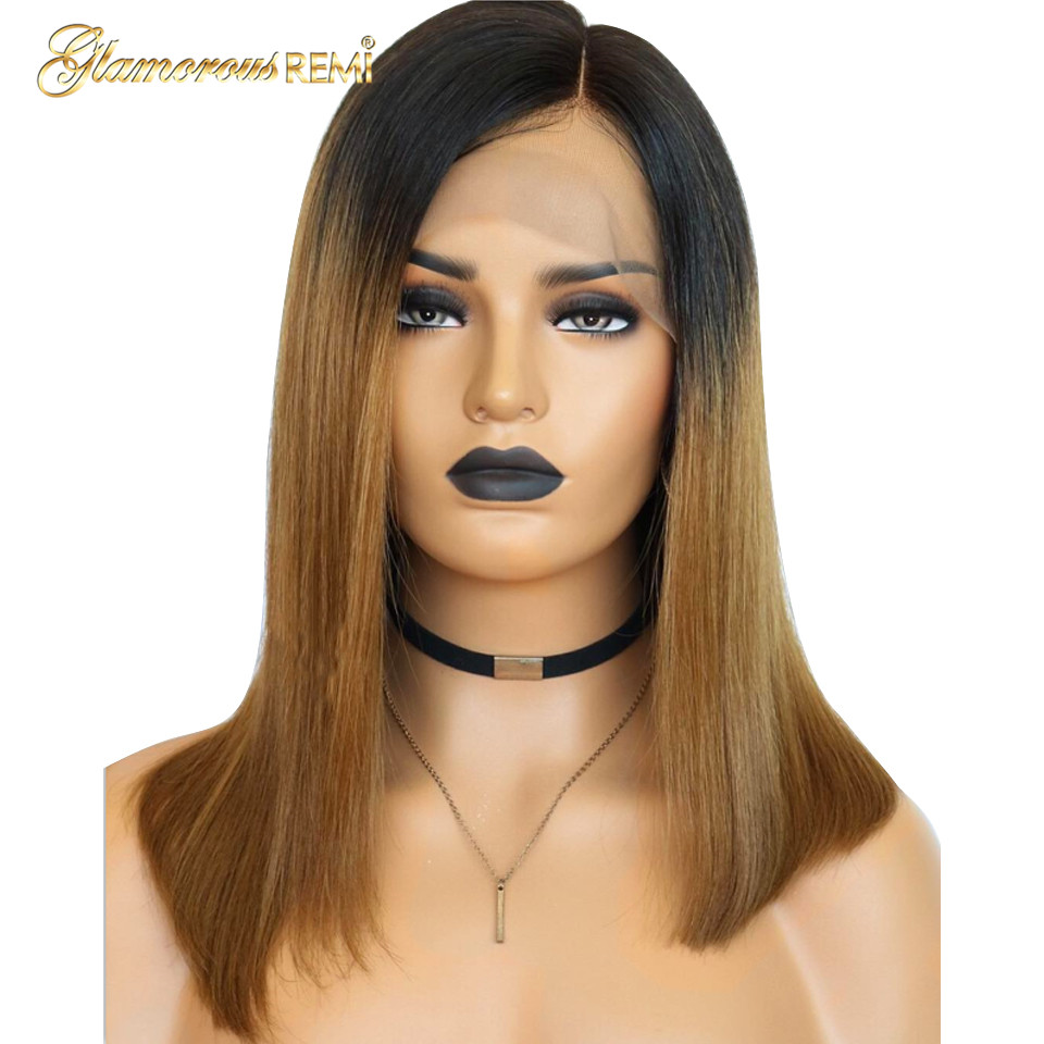 Ombre Short Bob Wig 1b/27 Lace Front Human Hair Wigs Brazilian Straight Hair Short Bob Wig Remy Hair Bleached Knots For Woman