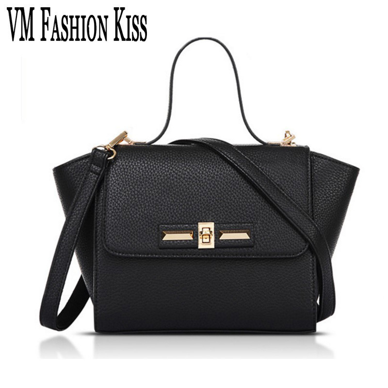 VM FASHION KISS Ladies Small Trapeze Bag Luxury Handbags Designer Shoulder Bags For Women Black Flap Pocket Lock Crossbody Bag phyanic 2017 gladiator sandals gold silver shoes woman summer platform wedges glitters creepers casual women shoes phy3323