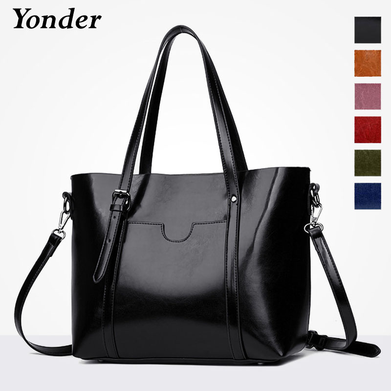 Yonder brand women genuine leather bag female shoulder bag with large capacity ladies handbag vintage cow leather tote bags real 2016 famous brand large real leather tote bag female cow leather handbag high end women vintage bag black casual top handle bags