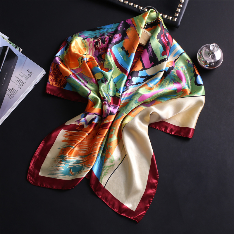 Geometric Graffiti Silk Scarf Women Foulard Bandana High Quality Square Winter Scarves Lady Headband Shawls Femme Hijab Pashmina