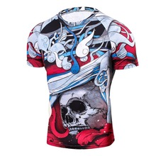 Cool Men's 3D T-Shirts, Wolf Printing Short Sleeve Boys Compression Tight Skin T-Shirt, MMA Fitness Base Layer Weight Lifting T-Shirt
