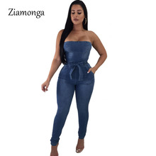 8960610cd3 Ziamonga Fashion Women Jumpsuits Slim Casual Solid Denim Jumpsuit Strapless  Bodycon Romper Overalls Female Long Pant