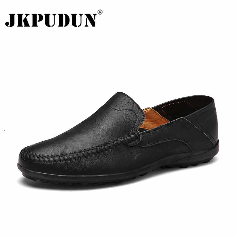 d40a859a370e09 JKPUDUN Men Shoes Casual Luxury Brand 2018 Genuine Leather Italian Men  Loafers Moccasins Slip on Mens
