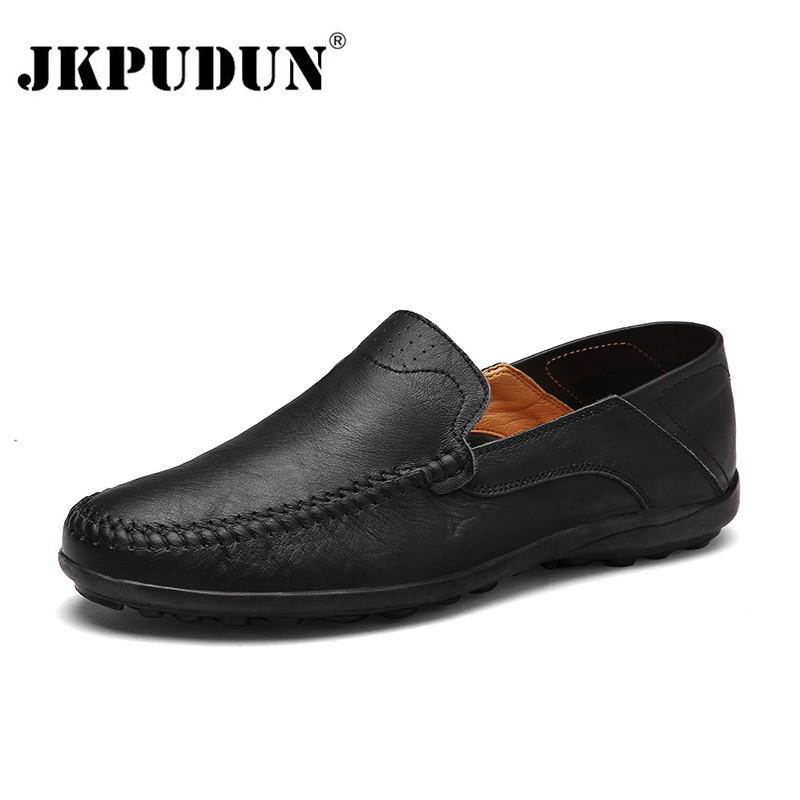 JKPUDUN Men Shoes Casual Luxury Brand 2018 Genuine Leather Italian Men Loafers Moccasins Slip On Mens Boat Shoes Plus Size 38-47
