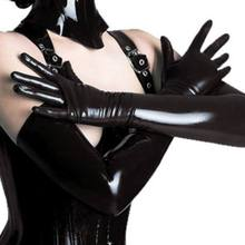 1 Pair New 2019 Adult Long Gloves Sexy Black Shiny Wet look