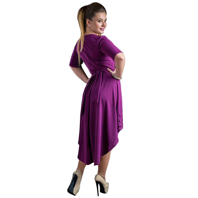 Plus Size High-Low Hollow Out Flare Casual Dress 4