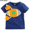 Pequeño experto en la ropa de marca niños 2016 muchachos del verano de algodón corto diseño Del O-cuello de la manera camiseta de la marca niños tee tops L072
