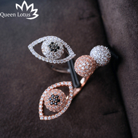 Queen Lotus 2017new Rings Open Eye Ring Personality Style Micro Set Zircon Ring High Quality Ladies