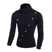 Oblique lapel buttons decorated Boutique Store  Hot Sale  Korean men's slim high collar POLO shirt