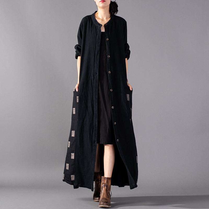 Johnature Vintage Solid Color Patchwork Plaid Cotton Linen Long Autumn Women Trench New 2019 O Neck
