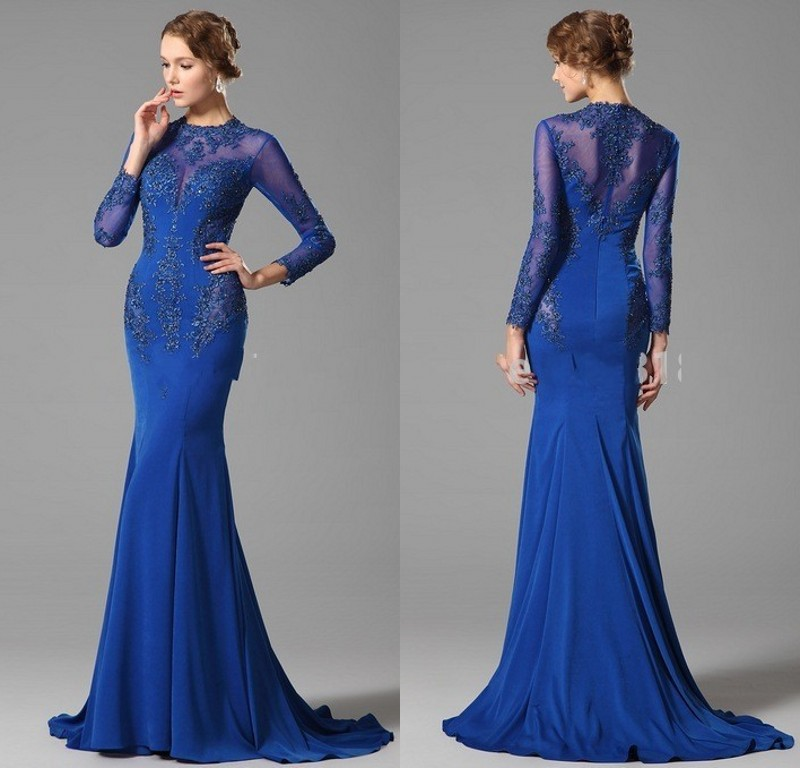 2017 Latest Designs Evening Gowns Long Sleeve Royal Blue Party ...