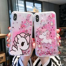 Quicksand Cute Cartoon Unicorn Phone Case For iphone X XR XS Max Bling Glitter Dynamic Liquid iphone6 6s 7 8 plus Cover