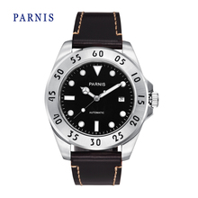 Мода 43 мм Parnis Черный Циферблат Серебристый Корпус Сапфировое Стекло Автоматическая Мужчины Наручные Часы Кожа Смотреть Группы