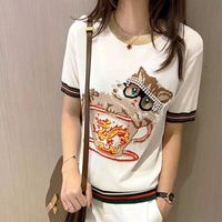 WB07136BA Fashion women Tops & Tees 2018 Runway Luxury Brand European Design party style T Shirts Women's Clothing