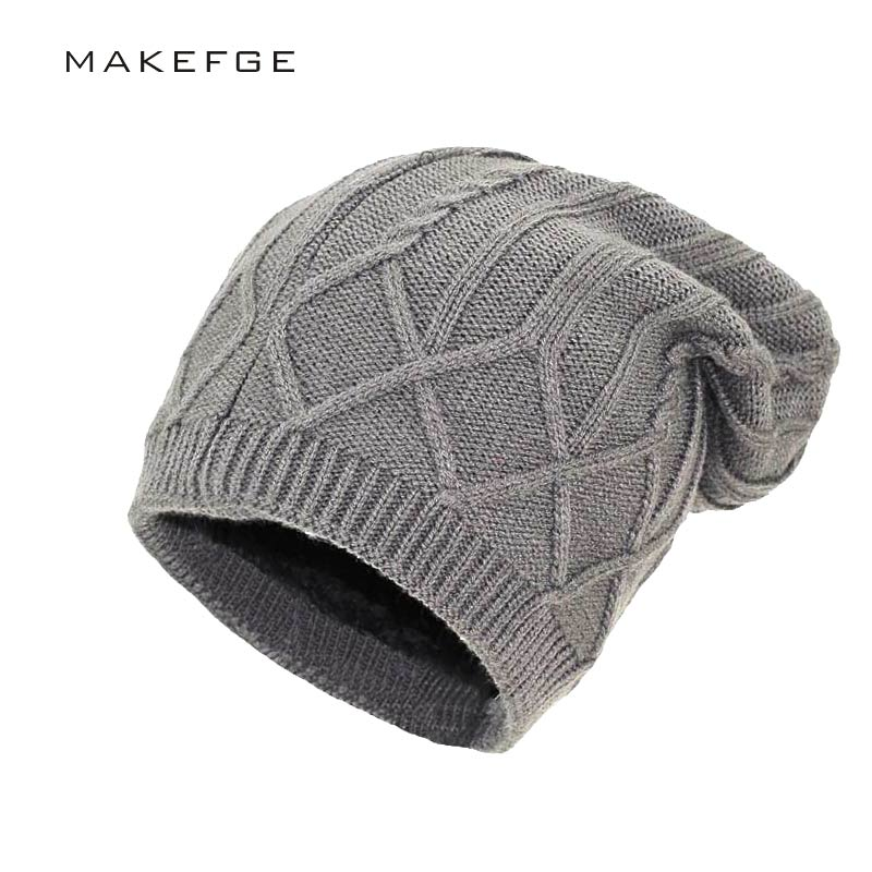 все цены на High quality Solid Design Skullies Bonnet Winter Hats For Women Men Beanie Men's Faux Fur Warm Baggy Knitted Knit Winter Hat онлайн