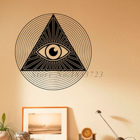 All Seeing Eye Pyramid Wall Decals Removable Vinyl Art Wall Stickers New Design Waterproof Fashion Style