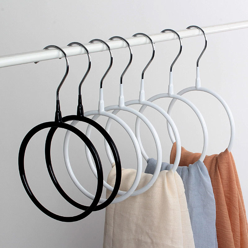 Popular 1PC New Black Circle Belts For Scarves White Storage Rack Home Shawls Neckties Organizer Holder Shawls Neckties Rack